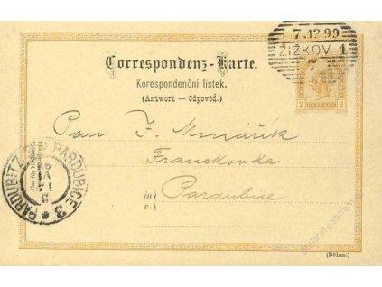 1899, Žižkov, II.díl dopisnice 2Kr Franc Josef