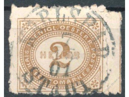 1899, 2H doplatní, kraj. kus, průseky, razítkované