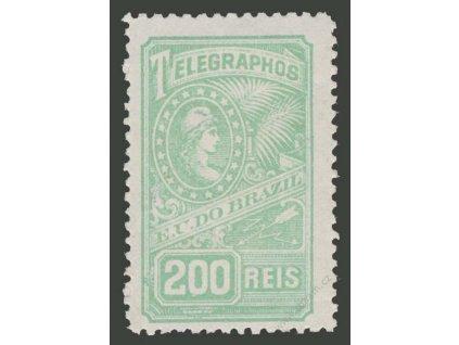 Brasílie, 1899, 200R telegrafní, * po nálepce, drobné vlomy