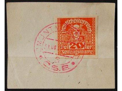 CMUNT V ČECHÁCH, 1920, výstřižek se známkou 20h Merkur