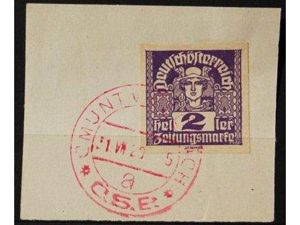 CMUNT V ČECHÁCH, 1920 - výstřižek se známkou 2h Merkur