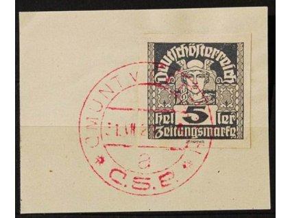 CMUNT V ČECHÁCH, 1920, výstřižek se známkou 5h Merkur