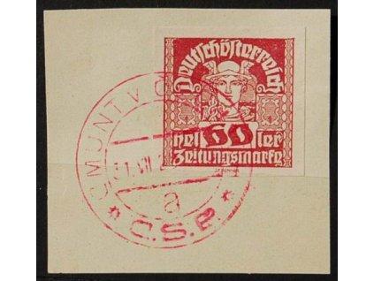 CMUNT V ČECHÁCH, 1920, výstřižek se známkou 60h Merkur