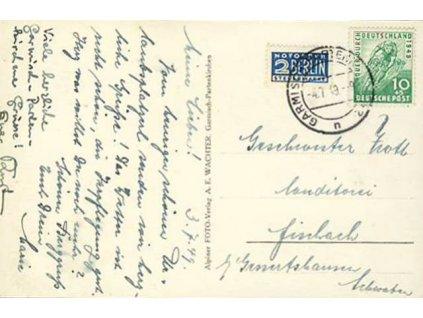 Americká a Britská zóna, 1949, DR Garmisch-Partenkirchen, pohlednice