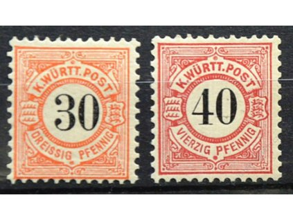 Wurttemberg, 1900, 30-40Pf série, * po nálepce