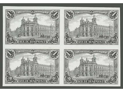 1900, 1M Pošta, černotisk, ND, rytina, 4blok, (*)