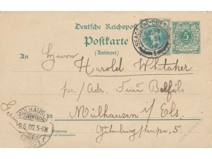 1900,  DR Seacombe-Cheshire, odpovědní díl dopisnice 5Pf