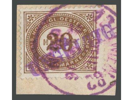 1900, 20H doplatní, výstřižek, fialové WIEN + UNGÜLTIG