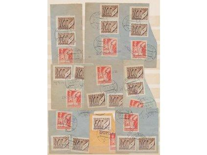 1945, Košické (doplatní) + slovenské, 9 ks výstřižků