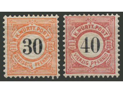 Württemberg, 1900, 30-40Pf série, * po nálepce