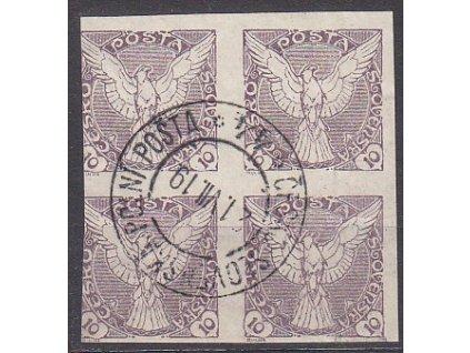 10h fialová, 4blok s razítkem ČSPP No.44 21.7.19, katalog Pofis Nr.NV4