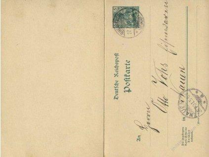 1901, DR Rheinsberg, dvojitá dopisnice 5Pf Germanie, jednostranně prošlé