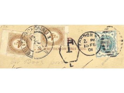 1901, výstřižek s doplatníma známkama