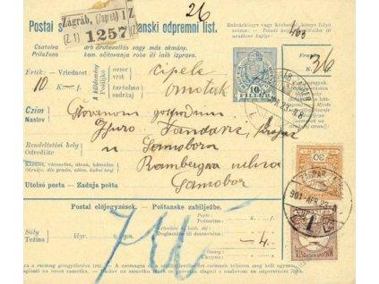 1901, DR Zágrab, větší díl kolkové průvodky