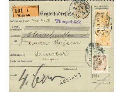 1901, DR Wien, větší díl kolkové průvodky