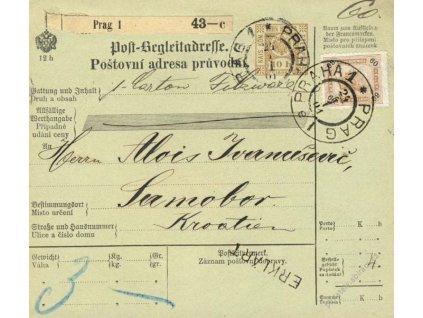 1901, DR Praha, větší díl kolkové průvodky