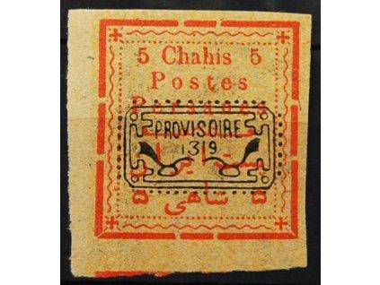 Irán, 1902, 5Ch červená/žlutá s přetiskem, * po nálepce