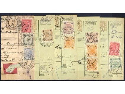 1903/04, 5 kusů útržků Zeitungs průvodek