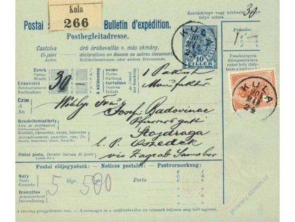 1904, DR Kula, větší díl kolkové průvodky