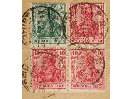 1905, 5 a 10Pf Germanie, výstřižek, DR Erfurt