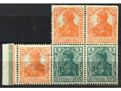 1905, 5 a 7 1/2Pf Germanie, kraj. 5blok, * po nálepce