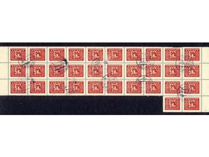 6.6.1953, DR Praha, 32blok známek 5Kčs doplatní, sundáno ze zúčtovacího archu