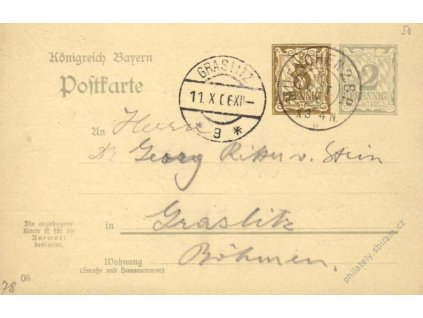 Bayern, 1906, DR Munchen, dvojitá dopisnice