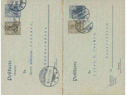 1907, DR Lieckermunde, Ahaus, 2 ks dopisnic s nátisky