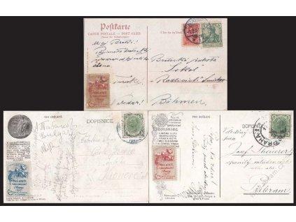 1907, 3 ks pohlednic vyfr. m.j. sletovými nálepkami