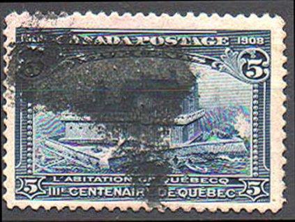 Kanada, 1908, 5C Quebec, razítkovaná