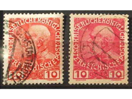 Kréta, 1908/14, 10C Franc Josef, různá vydání