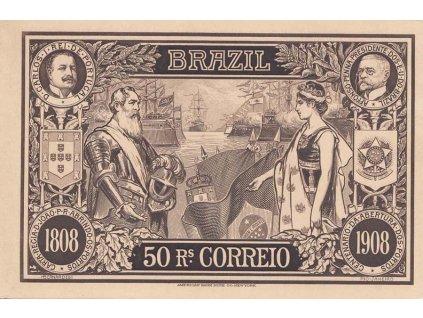 Brasílie, 1908, celinová pohlednice 50R, neprošlé