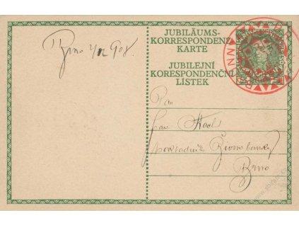 1908, Brünn, celinová pohlednice 5H Franc Josef