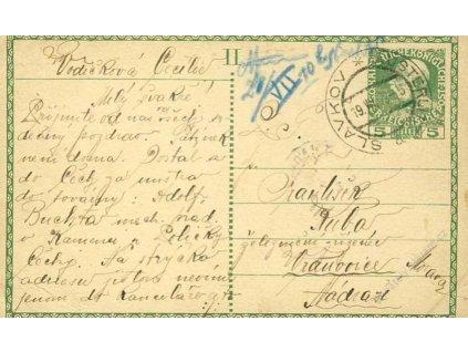 1909, DR Slavkov, celinová pohlednice