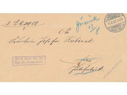 1909, DR Landsberg, skládaný dopis, vráceno zpět