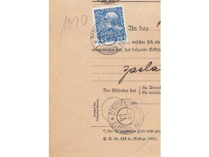 1908, DR Červený Kostelec, formulář Rückmeldung