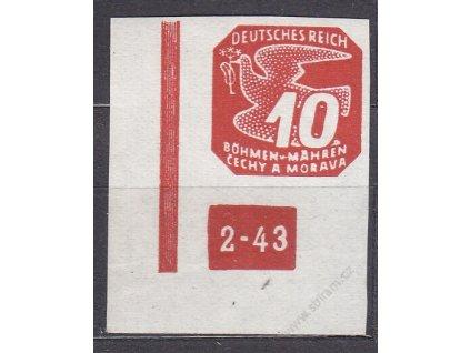 1943, 10h červená, levý roh. kus s DČ 2-43 - přerušený rám, Nr.NV14, **, vzácná varianta