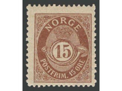 1909, 15Q tmavě hnědá, MiNr.81A, * po nálepce
