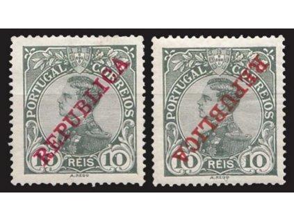 1910, 10R Manuel, obrácený přetisk, těžší *