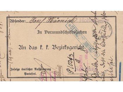 1910, DR Rokitnitz, úřední skládaný dopis