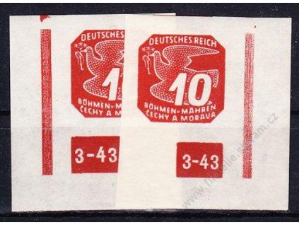 10h červená, levý a pravý roh. kus s DČ 2-43, ochranný rám nepřerušen, Nr.NV14, **