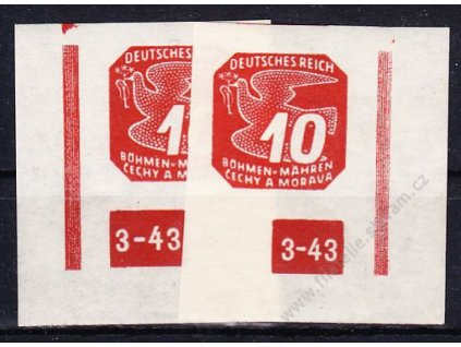 10h červená, levý a pravý roh. kus s DČ 3-43, ochranný rám 1krát přerušen, Nr.NV14, **