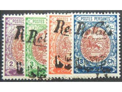 Irán, 1911, 2, 3, 6 a 13Ch Relais, * po nálepce
