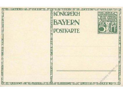 Bayern, 1911, celinová pohlednice 5Pf, neprošlé