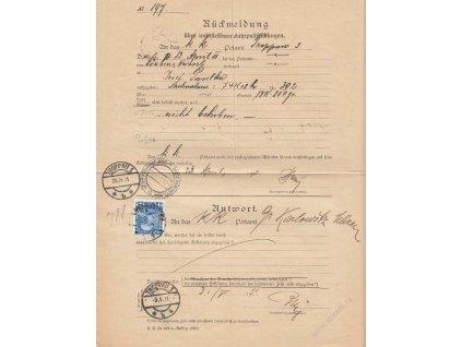 1911, DR Troppau, formulář Rückmeldung, přeloženo