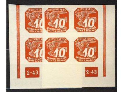 1943, 10h červená, roh.4blok s DČ2-43, L+P, **