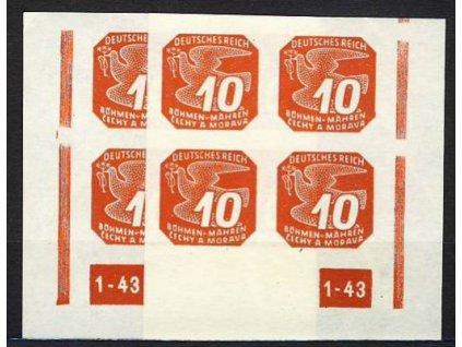 1943, 10h červená, roh.4blok s DČ1-43, L+P, přerušený rám, Nr.NV14, **