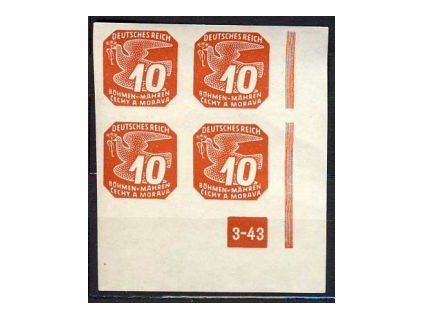 1943, 10h červená, pravý roh.4blok, DČ3-43