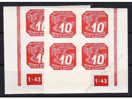 10h červená, 2 roh. 4bloky s DČ 1-43, nepřerušovaný rám, Nr.NV14, **