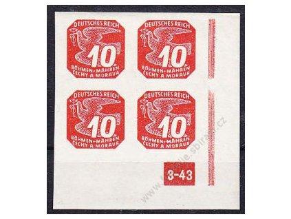 10h červená, pravý roh. 4blok s DČ 3-43 - přerušovaný rám, Nr.NV14, **